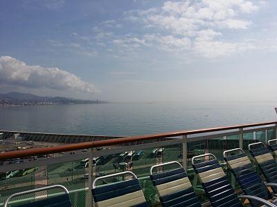 Vistas del puerto de Málaga desde la cubierta superior del Brilliance of the Seas