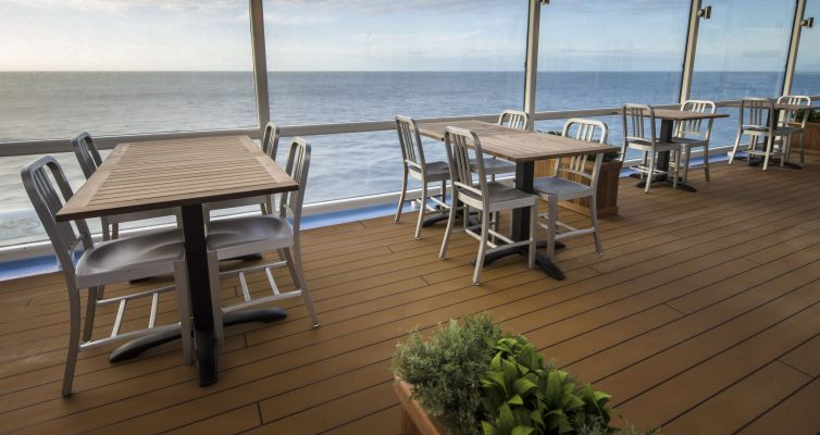 Quantum of the Seas, Jamie''s Italian, the tables outside on deck, the restaurant also has inside tables, Jamie''s Italian Table, dynamic dining speciality restaurant