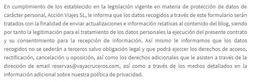 Política de Privacidad y Cookies Blog Vayacruceros